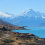Mt. Cook and Bright Blue Lake